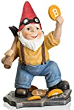 Joykick Bitcoin Miner Gnome - 11 x 7.5 Inches Hand Painted Garden Statue - Miniature Figurine for Indoor and Outdoor Use - Funny Gift for Home or Lawn Decor