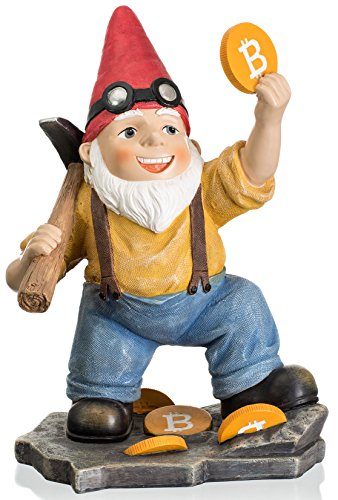 Joykick Bitcoin Miner Gnome - 11 x 7.5 Inches Hand Painted Garden Statue - Miniature Figurine for Indoor and Outdoor Use - Funny Gift for Home or Lawn Decor by Joykick