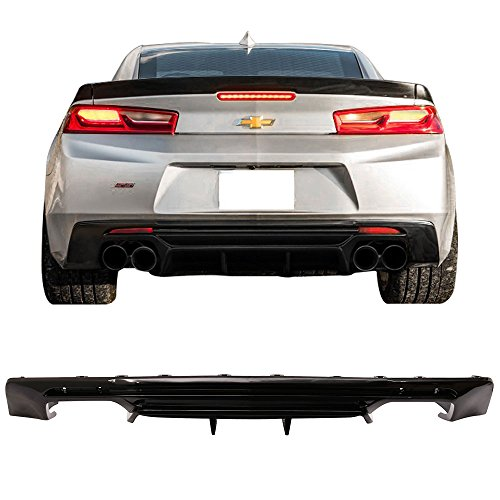 (Rear Bumper Lip Diffuser Fits 2016-2019 Chevy Camaro | Glossy Black Rear Bumper Lower Body Protection Avoid Against Collision by IKON MOTORSPORTS | 2017)