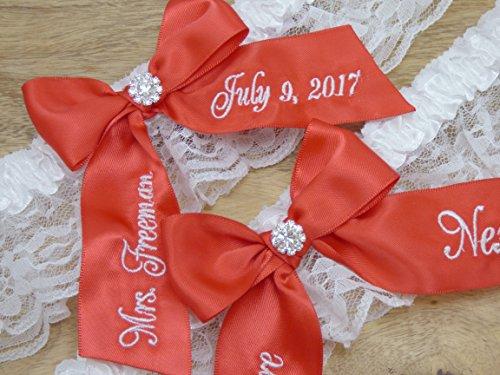 Red Bridal Garter, You're Next Wedding Garter Set, Custom Garters by Ella Winston