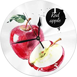 HOSNYE Red Apple Wall Clocks Isolated Eco Natural Food Fruit on White Background Round Clock Home Decor for Living Room Bedroom Kitchen Office 10 inch Slient Non Ticking