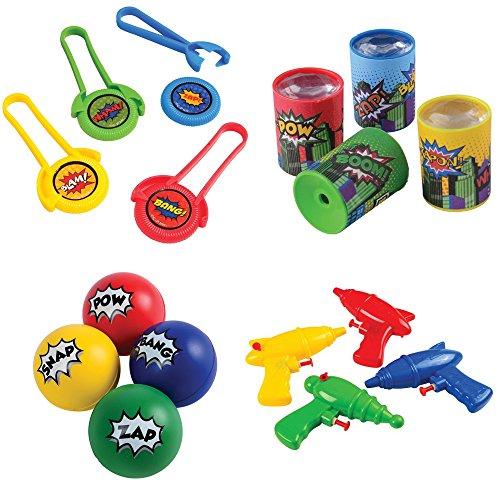 Kid Fun Superhero Toy Party Favor Supplies Set 12 Bundle 48 Pieces StressBalls -