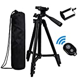 Apsung Tripod for Smartphone and Camera, 50-inch Aluminum Universal Tripod + Cell Phone Holder Mount + Bluetooth Wireless Remote Control Camera Shutter for iPhone, Samsung Galaxy and More - Black
