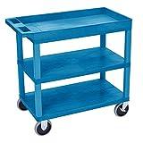 EC122HD-BU 18x32 Blue Cart 2 Flat with 1 Tub Shelf , Automotive, tool & industrial , Office maintenance, janitorial & lunchroom , Carts , Service/utility
