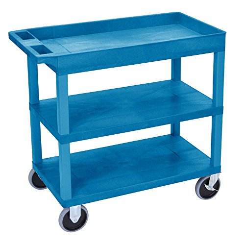 EC122HD-BU 18x32 Blue Cart 2 Flat with 1 Tub Shelf , Automotive, tool & industrial , Office maintenance, janitorial & lunchroom , Carts , Service/utility by Luxor