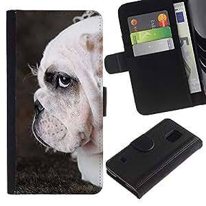 EuroCase - Samsung Galaxy S5 V SM-G900 - English bulldog British wrinkled dog - Cuero PU Delgado caso cubierta Shell Armor Funda Case Cover