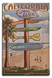 Long Beach, California - Destinations Sign (10x15 Wood Wall Sign, Wall Decor Ready to Hang)
