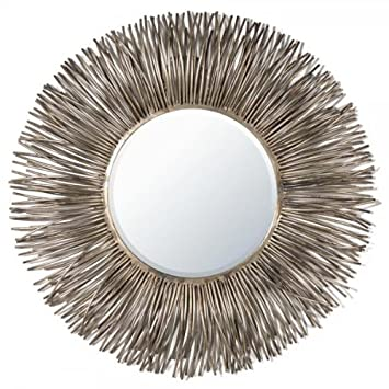 Large Unusual Style Round Gold / Silver Metal Wall Mirror - Incl Free  Delivery