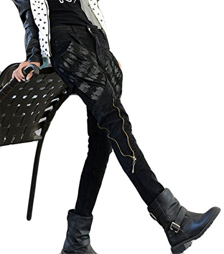 Zipper Skinny Fille Hip Femmes Noir Bodycon Pantalons poches BF Style Denim Jeans Hop taille Harem Haute Grandes zPqqwt