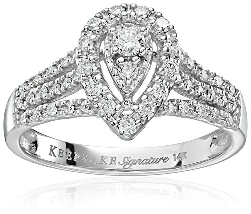 Keepsake Signature 14k White Gold Diamond Pear Shaped Engagement Ring (1/2cttw, H-I Color, I1 Clarity), Size 9
