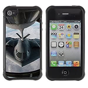 Hybrid Anti-Shock Defend Case for Apple iPhone 4 4S / Stealth Figther Plane