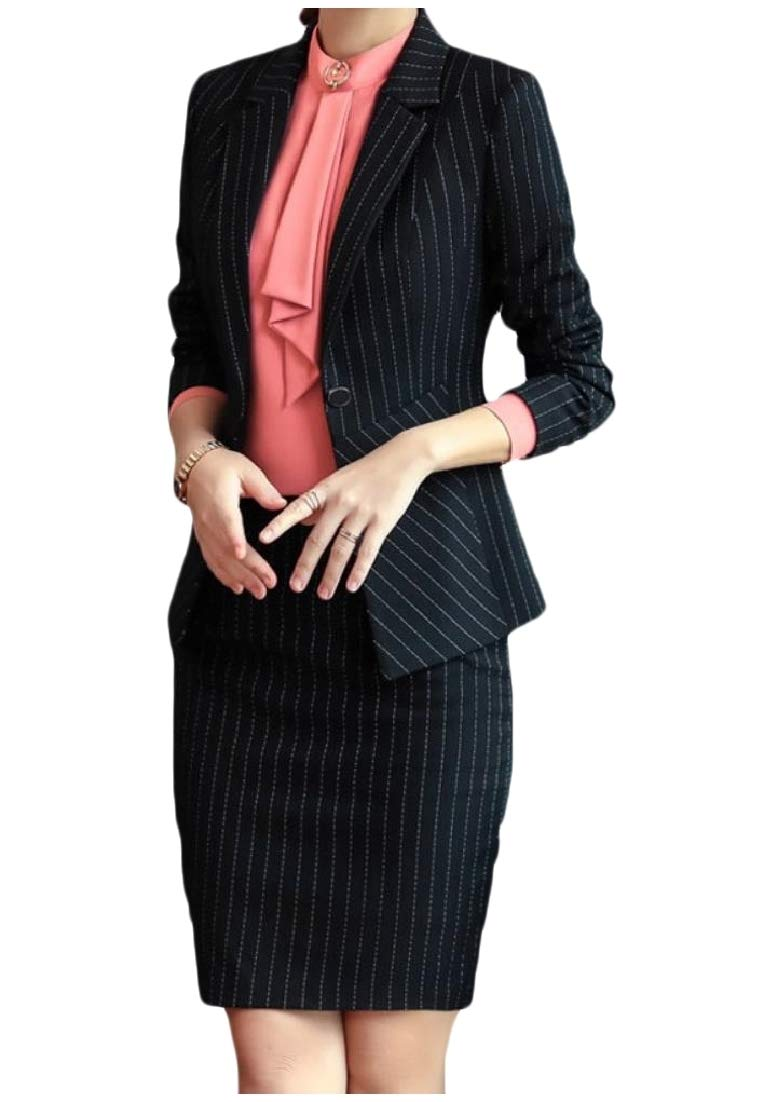 Andopa Womens Work Strip 1 Button Trim-Fit Business Thin Suit Dress Sets Black XS