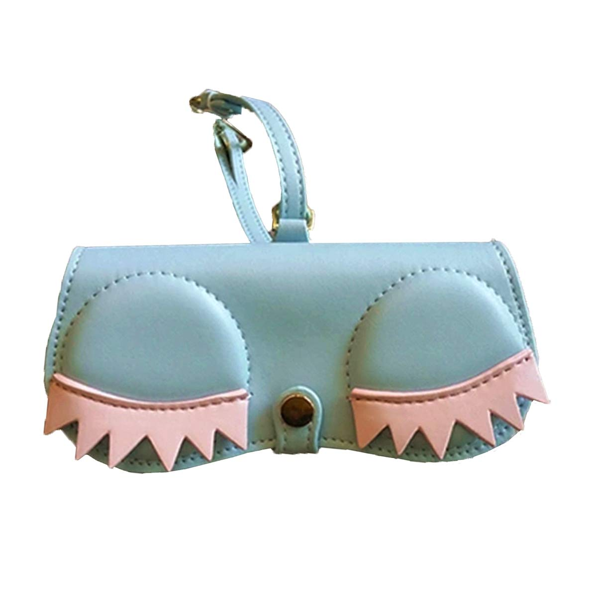 bluee Eyelash Poppow Women's Handmade Sunglasses Case, Cute Leather Eyeglasses Case Bag Keychain Charm Decoration Pendant Gift Accessory