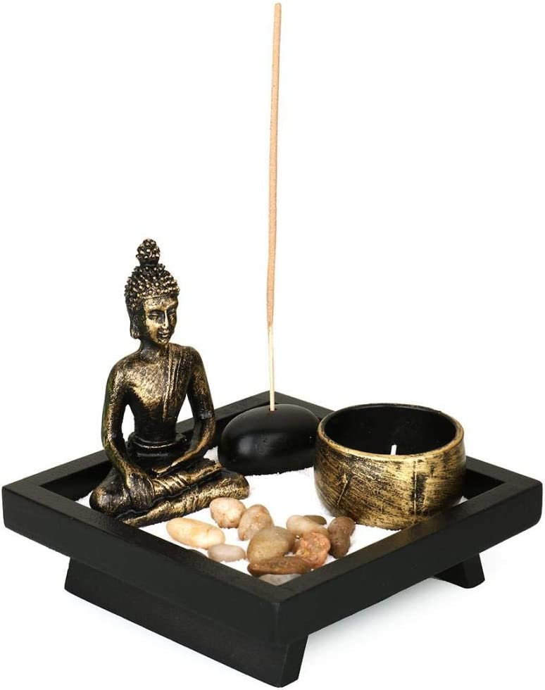 YYW Tabletop Zen Garden with Buddha Incense Holder, Sand, Rock Candle, Rock Garden, and Incense Holder Peace and Tranquility for Home Decor Gift