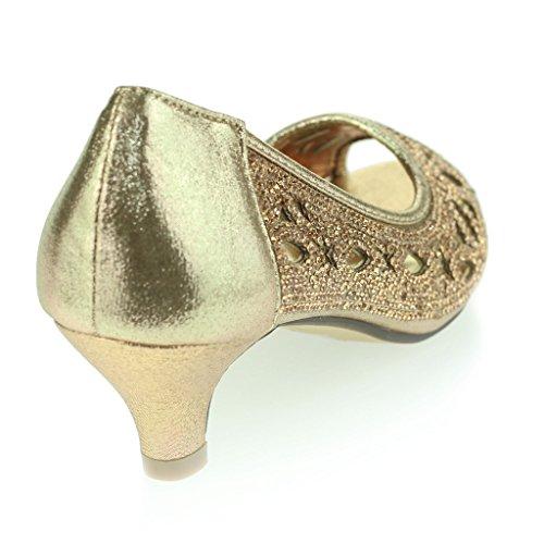 Mujer Señoras Diamante tachonado Recortar Peep Toe Tacón Del Gatito Noche Fiesta Boda Prom Sandalias Zapatos Talla Champán