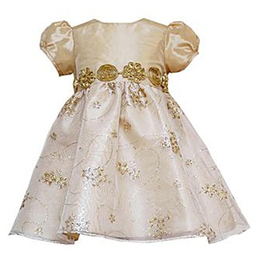 Rare Too! Infant & Toddler Girls Sparkly Gold Party Dress Christmas Outfit]()