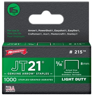 5 Pack Arrow Fastener 215 JT21 5/16'' Flat Crown Light Duty Staples 1000 per Package