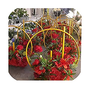 Image of Daydreaming-shop Wedding Arch Background Wrought Iron Shelf Decorative Props Round Party Background Shelf Flower with Frame,70Cm,Gold Home and Kitchen
