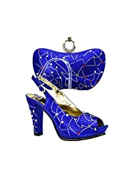 Xiao-Jing Green Color Italian Shoes with Matching Bags Ladies Shoes with Matching Bags Set