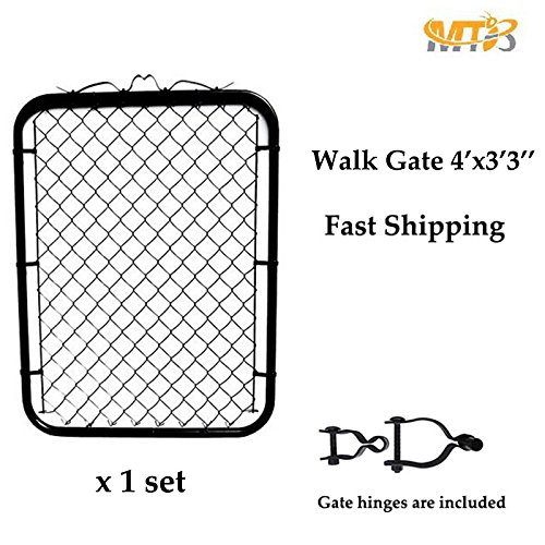 MTB Black Coated Chain Link Garden Walking Fence Gate 50-inch Overall Height by 39-inch Frame Width (Fit a 42-inch Opening), 1 Pack ()