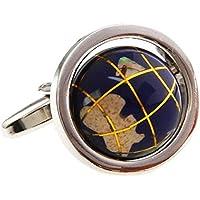 MRCUFF Globe Map Earth Really Spins Pair Cufflinks in a Presentation Gift Box & Polishing Cloth