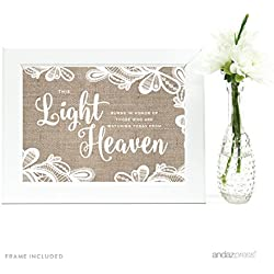 Andaz Press Wedding Framed Party Signs, Burlap Lace Printed Cardstock, 5x7-inch, This Light Burns to Honor Those Who are Watching Today from Heaven Memorial Candle Table Sign, 1-Pack, Includes Frame