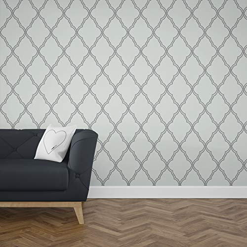 (Removable Sticker Peel and Stick Wallpaper - Trellis Color Shades of Grey Trellis Design great Baby Kids Room Decor by OMGPOPART 022)