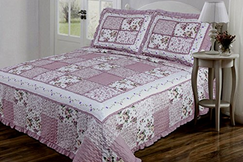 3 PC Quilted Bedspread Coverlet Mauve and Cream Floral Patchwork Design with Ruffles 100% Microfiber King Size (Flowered Comforters)