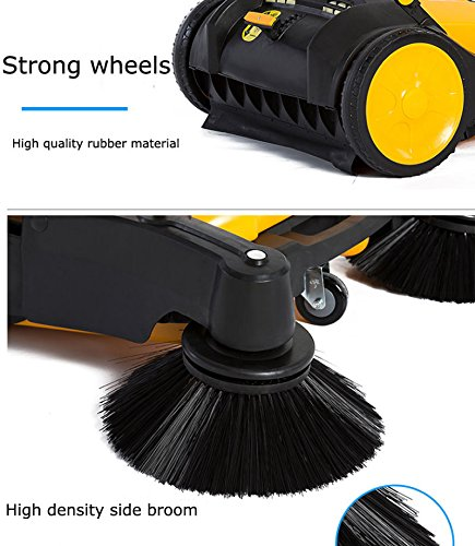 TECHTONGDA 39.5'' Width Triple Brush Walk-Behind Sweeper Push Power Sweeper Pavement Sweeper Portable Cleaner Hard Rubber by TECHTONGDA (Image #5)
