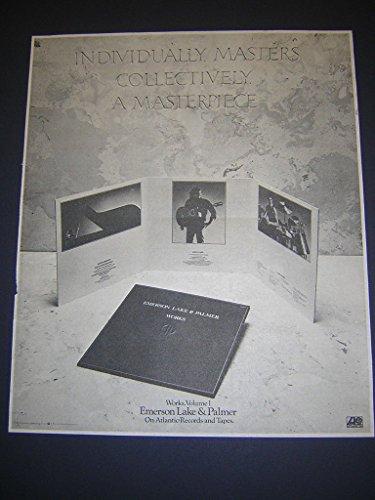 Emerson Lake and Palmer Works Rare Original 1977 LP Album Promo Poster Newspaper -