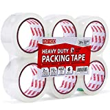ParKoo Clear Packing Tape, 72 Yards Per Roll (6 Rolls), 1.88 inches Heavy Duty Sealing Adhesive Industrial Depot Tapes Refill for Packaging Moving Shipping Office