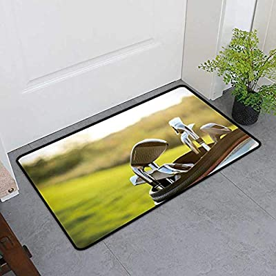 Outdoor/Indoor Mat Golf Clubs Drivers Over Green fiel backgroun Summer Sunset Waterproof and Easy Clean from gmnalahome