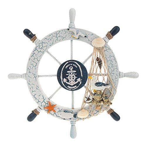 MagiDeal Nautical Wooden Steering Fishing