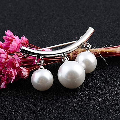 Silver and Gold Jurxy Arc Faux Pearl Brooch Pins Safety Pin Pendant Style for Sweater Shawl Scarves Coat Hat Decorations Ornaments Gifts