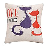 home office layout JINLE Couple cat Pillow Cover Animal Pattern Pillow Cover Pillowcase Suitable for Home Living Room Bedroom Decoration Car Interior Design Office Layout,18x18inches,45cm45cm Pack of 1