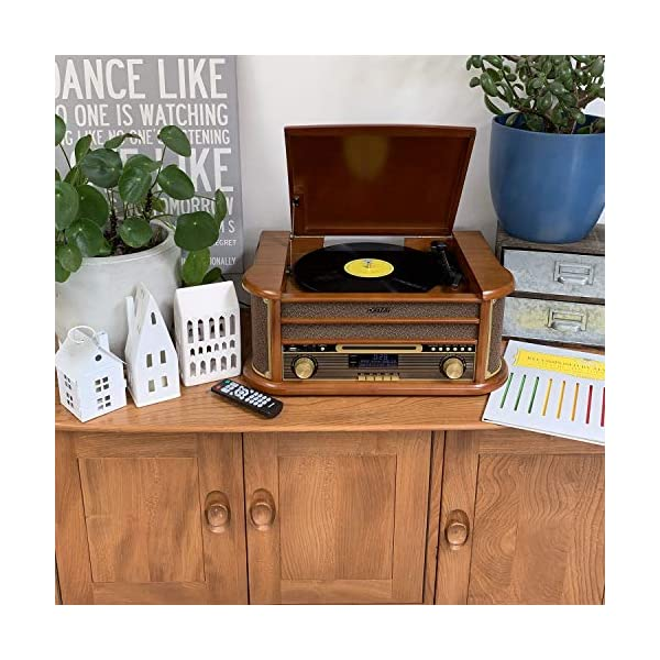 Denver MRD-51 DAB Retro Record Player Music Centre With Remote Control, CD Player, DAB+ & FM/AM Radio, Vinyl Player, Cassette Player, MP3 USB And AUX IN for Smartphone & Tablet