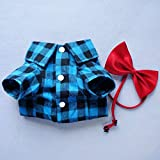 HOODDEAL Soft Casual Dog Blue and Black Plaid Shirt Gentle Dog Western Shirt Dog Clothes Dog Cotton Shirt + Dog Wedding Tie,Blue