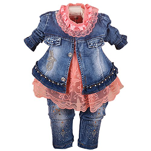 Spring Autumn Infant Little Baby Girls Clothing Set 3 Pieces Sets T Shirt Jacket and Jeans (6-12Months, Orange) ()