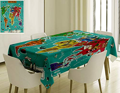 Unique Custom Cotton And Linen Blend Tablecloth 4 Colorful Educational Kids Maps Decor Collection America Africa Asia Australia Pacific Indian AtlantiTablecovers For Rectangle Tables, 60 x 40 Inches -