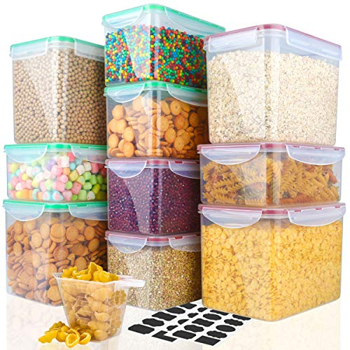 Food Storage Containers Cereal Container - VERONES 10 Piece Plastic Storage Containers Perfect For Kitchen Storage Containers (4 Size 20 Pcs Chalkboard Labels & 1 Measuring Cup)