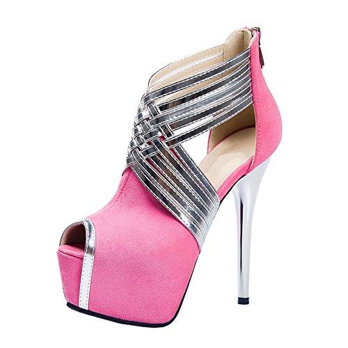Sandals Sky Stiletto High Pumps Heels Strap Pink Party Wedding Toe up Platform Cross Peep fereshte Zip Women's Apqwvzz
