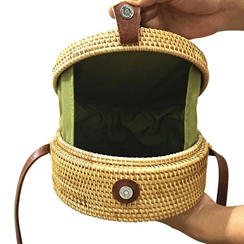 Handbag Messenger Summer No Woven Rattan Beach Women Round Shoulder Straw Prosperveil Bags 5 IfOA1q