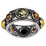 Sterling Silver Multicolor Amber Round Stone Magic Look Ring