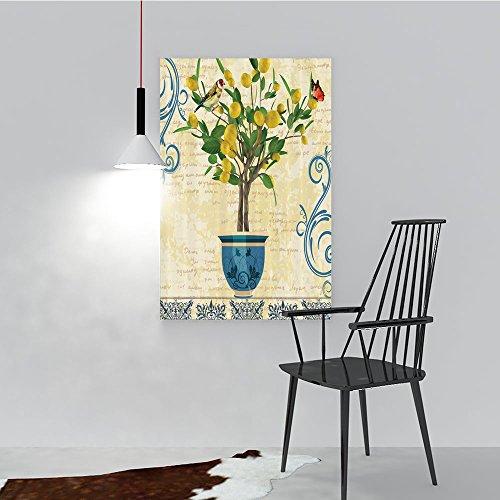 Modern Landscape Artwork Stretched Lemons Lemon Tree Birds Traditiona Tiles Monarch Butterfly Bird Vintage Style Flora pot Ceramic Vase Pattern I for Living Room Home Decorations(24