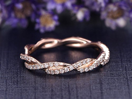 Full Eternity Diamond Wedding Band,Solid 14k Rose Gold,Twisted Cross Bridal Band,Anniversary Stacking Ring,Reco Antique,Promise