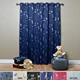 Best Home Fashion Room Darkening Animal Print Curtains - Stainless Steel Nickel Grommet Top - Navy - 52'' W x 84'' L - (Set of 2 Panels)