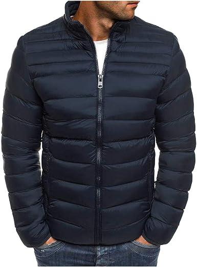 VPASS Abrigo Hombre Invierno Cazadora de Hombre Abrigo de Stand Collar Moda Slim Caliente Chaqueta Manga Larga Algodón Abrigo Gruesa de Cremallera Casual Chaqueta de Plumas Cardigan Outwear Jacket: Amazon.es: Ropa y