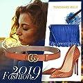 TOMSBERY Women Leather Belt GG Style Fashion Slim Thin Belt Gold Buckle[2.5CM Width]