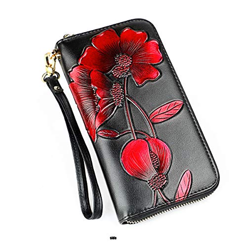 Lady Wallets, Leather Hand Painted Flowers Purse RFID Wristlet Wallet For Women (women wallet 101 black)