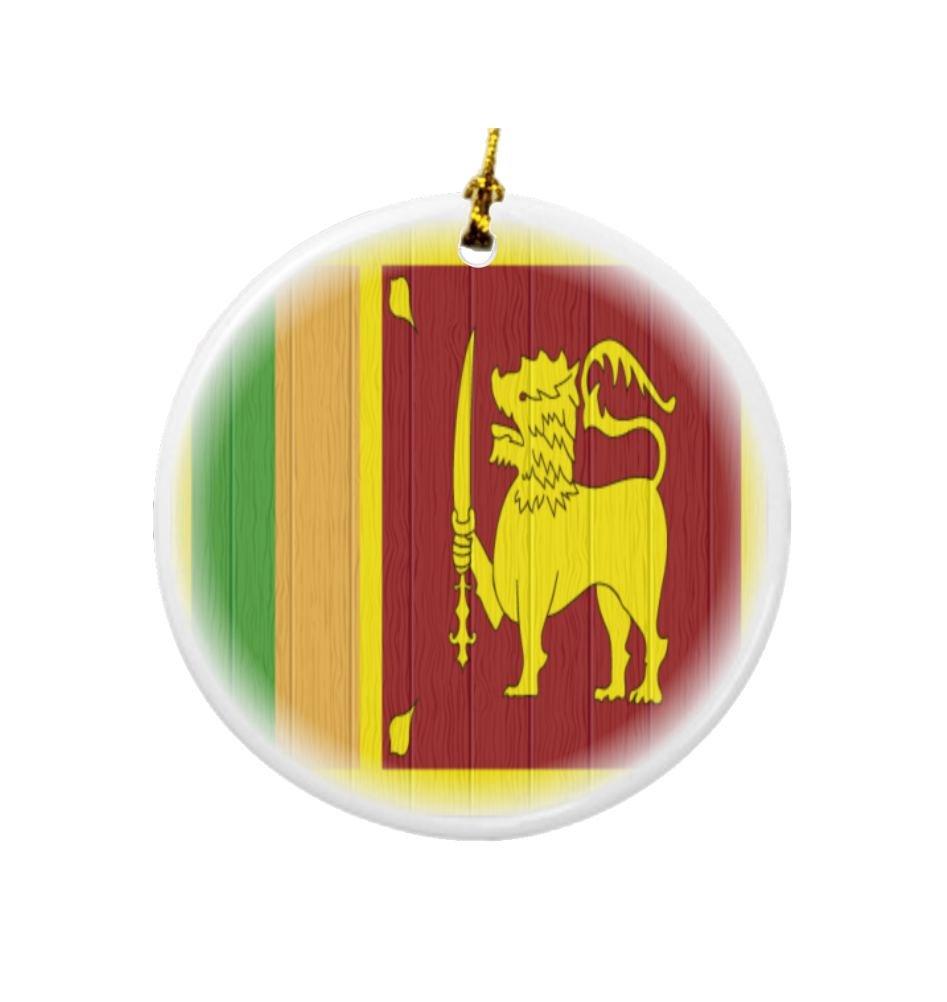 Rikki Knight Sri Lanka Flag on Distressed Wood Design Round Porcelain Two-Sided Christmas Ornaments